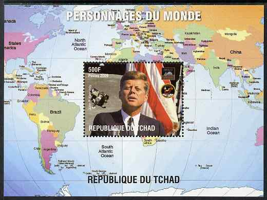 Chad 2009 World Personalities - John F Kennedy perf s/sheet unmounted mint. Note this item is privately produced and is offered purely on its thematic appeal.