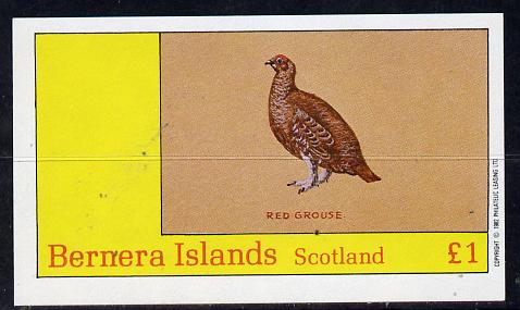 Bernera 1982 Birds #12 (Red Grouse) imperf souvenir sheet (�1 value) unmounted mint