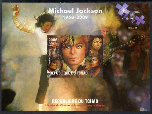 Chad 2009 Michael Jackson #1 imperf s/sheet unmounted mint. Note this item is privately produced and is offered purely on its thematic appeal.