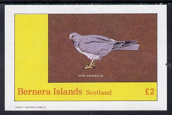Bernera 1982 Birds #12 (Hen Harrier) imperf deluxe sheet (�2 value) unmounted mint
