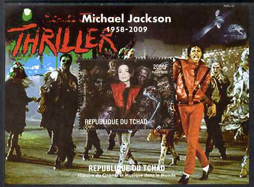 Chad 2009 Michael Jackson #4 - Thriller perf s/sheet unmounted mint. Note this item is privately produced and is offered purely on its thematic appeal.
