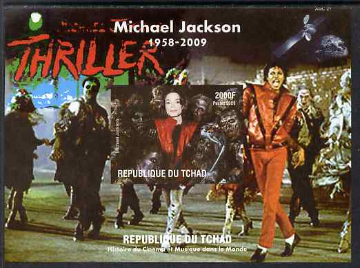 Chad 2009 Michael Jackson #4 - Thriller imperf s/sheet unmounted mint. Note this item is privately produced and is offered purely on its thematic appeal.