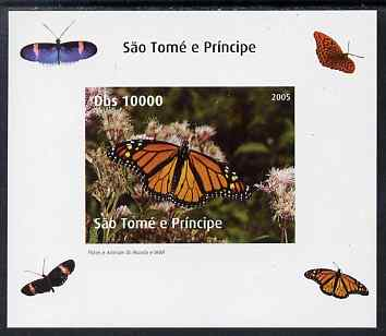 St Thomas & Prince Islands 2005 Butterflies #1 individual imperf deluxe sheet unmounted mint. Note this item is privately produced and is offered purely on its thematic appeal