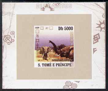St Thomas & Prince Islands 2008 Elephants #3 individual imperf deluxe sheet unmounted mint. Note this item is privately produced and is offered purely on its thematic appeal