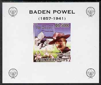 St Thomas & Prince Islands 2008 Baden Powell #1 individual imperf deluxe sheet unmounted mint. Note this item is privately produced and is offered purely on its thematic appeal
