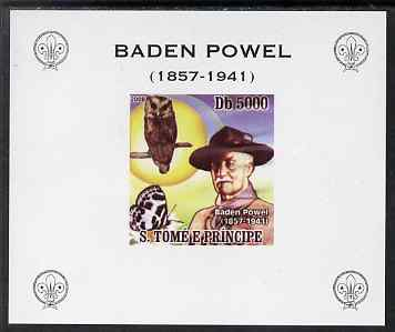 St Thomas & Prince Islands 2008 Baden Powell #2 individual imperf deluxe sheet unmounted mint. Note this item is privately produced and is offered purely on its thematic appeal