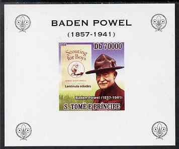 St Thomas & Prince Islands 2008 Baden Powell #4 individual imperf deluxe sheet unmounted mint. Note this item is privately produced and is offered purely on its thematic appeal