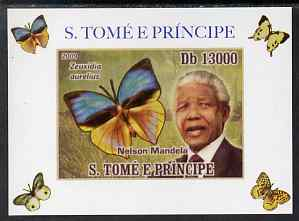 St Thomas & Prince Islands 2009 Nelson Mandela & Butterfly #1 individual imperf deluxe sheet unmounted mint. Note this item is privately produced and is offered purely on...