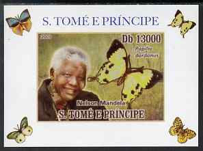 St Thomas & Prince Islands 2009 Nelson Mandela & Butterfly #2 individual imperf deluxe sheet unmounted mint. Note this item is privately produced and is offered purely on...