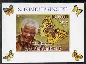 St Thomas & Prince Islands 2009 Nelson Mandela & Butterfly #4 individual imperf deluxe sheet unmounted mint. Note this item is privately produced and is offered purely on...