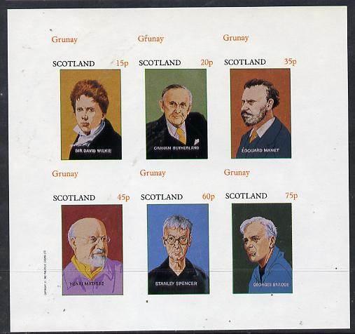Grunay 1982 Artists (Wilkie, Sutherland, Matisse etc) imperf set of 6 values (15p to 75p) unmounted mint, stamps on arts     personalities    matisse    manet      braque     sutherland      wilkie