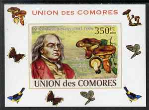 Comoro Islands 2008 Botanists & Fungi #6 Miles Joseph Berkeley individual imperf deluxe sheet unmounted mint. Note this item is privately produced and is offered purely on its thematic appeal, it has no postal validity