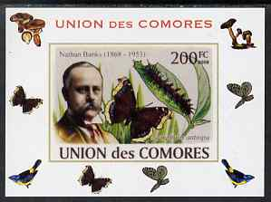 Comoro Islands 2008 Entomologists & Butterflies #1 Nathan Banks individual imperf deluxe sheet unmounted mint. Note this item is privately produced and is offered purely on its thematic appeal, it has no postal validity