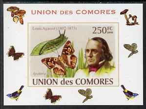 Comoro Islands 2008 Entomologists & Butterflies #3 Louis Agassiz individual imperf deluxe sheet unmounted mint. Note this item is privately produced and is offered purely on its thematic appeal, it has no postal validity