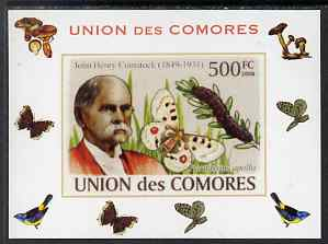 Comoro Islands 2008 Entomologists & Butterflies #4 John Henry Comstock individual imperf deluxe sheet unmounted mint. Note this item is privately produced and is offered purely on its thematic appeal, it has no postal validity