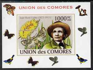 Comoro Islands 2008 Entomologists & Butterflies #5 Jean Henri Fabre individual imperf deluxe sheet unmounted mint. Note this item is privately produced and is offered purely on its thematic appeal, it has no postal validity