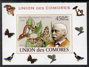Comoro Islands 2008 Entomologists & Butterflies #6 Per Olaf Christopher Aurivillius individual imperf deluxe sheet unmounted mint