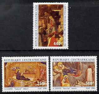 Central African Republic 1986 Christmas - Nativity paintings perf set of 3 unmounted mint SG 1233-5