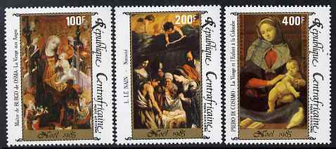 Central African Republic 1985 Christmas - Nativity paintings perf set of 3 unmounted mint SG 1160-62