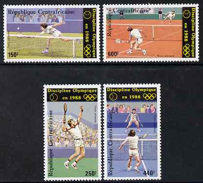 Central African Republic 1986 Seoul Olympic games - 1st issue - Tennis perf set of 4 unmounted mint SG 1244-7