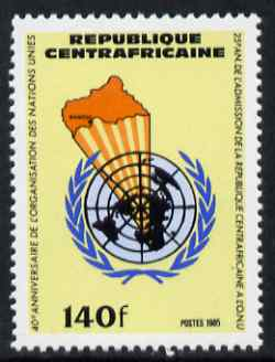 Central African Republic 1985 40th Anniversary of United nations 140f unmounted mint SG 1159