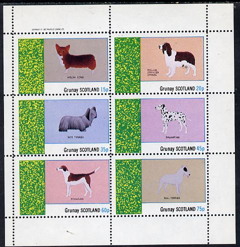 Grunay 1982 Dogs (Corgi, Dalmation, Bull Terrier etc) perf set of 6 values (15p to 75p) unmounted mint