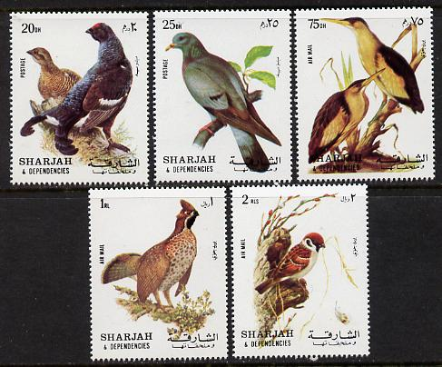 Sharjah 1972 Birds #1 perf set of 5 unmounted mint, Mi 1036-40A