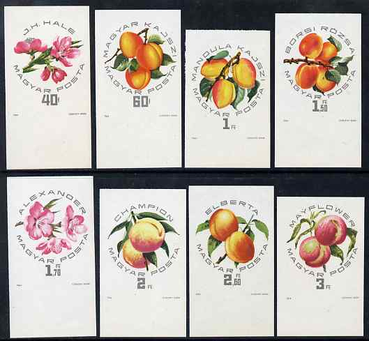 Hungary 1964 Peaches & Apricots imperf set of 8 unmounted mint, Mi 2044B-51B