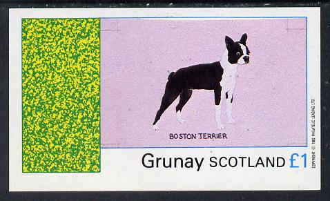 Grunay 1982 Dogs (Boston Terrier) imperf souvenir sheet (�1 value) unmounted mint