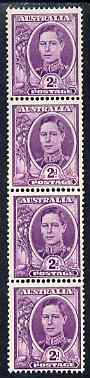 Australia 1948-56 2d bright purple coil strip of 4 showing coil join, top stamp mounted, SG 230aa