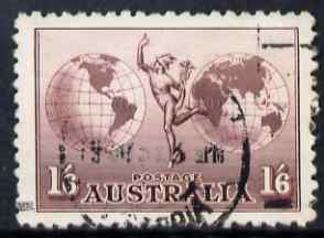 Australia 1934 Hermes 1s6d no wmk fine cds used with Plate Scratch top left, SG 153var