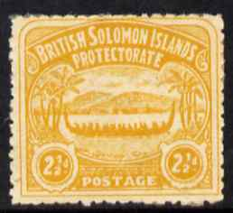 Solomon Islands 1907 Large Canoe 2.5d yellow mounted mint SG4