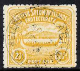 Solomon Islands 1907 Large Canoe 2.5d yellow cds used few nibbled perfs SG4