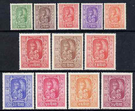 Nepal 1954 King Tribhuvana fine mounted mint set of 12, SG73-84