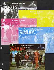 Chad 2009 Michael Jackson #4 - Thriller m/sheet the set of 5 imperf progressive proofs comprising the 4 individual colours plus all 4-colour composite, unmounted mint