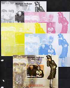 Chad 2009 Michael Jackson #2 with Nelson Mandela m/sheet the set of 5 imperf progressive proofs comprising the 4 individual colours plus all 4-colour composite, unmounted...