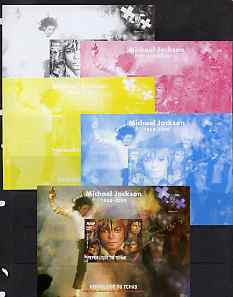 Chad 2009 Michael Jackson #1 m/sheet the set of 5 imperf progressive proofs comprising the 4 individual colours plus all 4-colour composite, unmounted mint