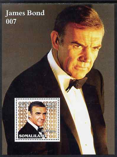 Somaliland 2002 James Bond (Sean Connery) #1 perf m/sheet unmounted mint. Note this item is privately produced and is offered purely on its thematic appeal