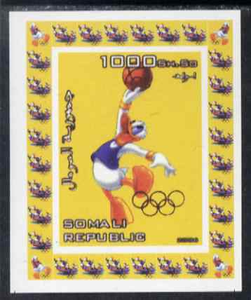 Somalia 2006 Beijing Olympics (China 2008) #10 - Donald Duck Sports - Basketball imperf individual deluxe sheet unmounted mint. Note this item is privately produced and is offered purely on its thematic appeal