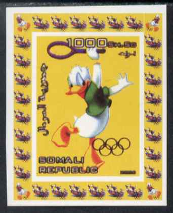 Somalia 2006 Beijing Olympics (China 2008) #11 - Donald Duck Sports - Tennis imperf individual deluxe sheet unmounted mint. Note this item is privately produced and is offered purely on its thematic appeal