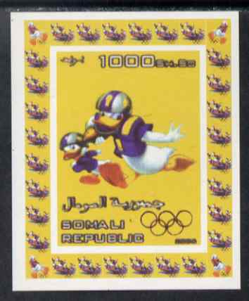 Somalia 2006 Beijing Olympics (China 2008) #12 - Donald Duck Sports - American Football imperf individual deluxe sheet unmounted mint. Note this item is privately produced and is offered purely on its thematic appeal