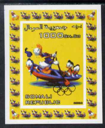 Somalia 2006 Beijing Olympics (China 2008) #13 - Donald Duck Sports - Rowing imperf individual deluxe sheet unmounted mint. Note this item is privately produced and is offered purely on its thematic appeal