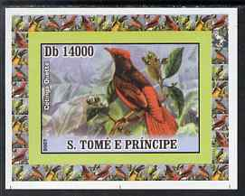 St Thomas & Prince Islands 2007 Birds #2 - Cotinga imperf individual deluxe sheet unmounted mint. Note this item is privately produced and is offered purely on its thematic appeal