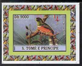 St Thomas & Prince Islands 2007 Birds #3 - Trogon imperf individual deluxe sheet unmounted mint. Note this item is privately produced and is offered purely on its thematic appeal