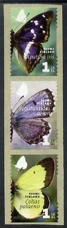 Finland 2007 Butterflies set of 3 self-adhesives unmounted mint SG 1882-4, stamps on butterflies, stamps on self adhesive