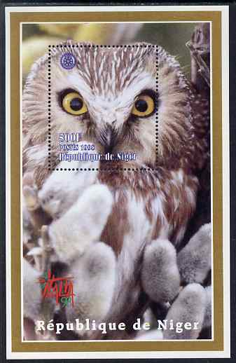 Niger Republic 1998 Italia 98 perf s/sheet featuring an Owl with Rotary logo unmounted mint. Note this item is privately produced and is offered purely on its thematic appeal