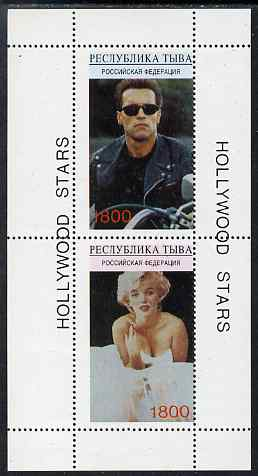 Touva 1995 Hollywood Stars #1 perf m/sheet containing 2 values (Marilyn Monroe & Schwarzenegger) unmounted mint. Note this item is privately produced and is offered purely on its thematic appeal, it has no postal validity