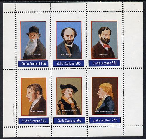 Staffa 1982 Artists (Pissarro, Constable, Turner, etc) perf set of 6 values (15p to 75p) unmounted mint, stamps on arts     personalities      pissarro    cezanne    sisley    constable    rembrandt    turner