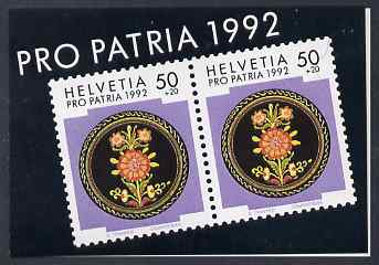 Booklet - Switzerland 1992 Pro Patria 7f80 booklet complete and very fine, SG PSB3