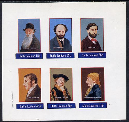 Staffa 1982 Artists (Pissarro, Constable, Turner, etc) imperf set of 6 values (15p to 75p) unmounted mint
